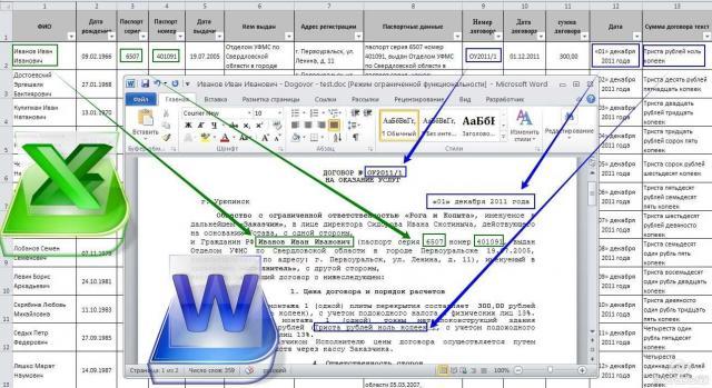 Заполнение документов Word данными из таблицы Excel