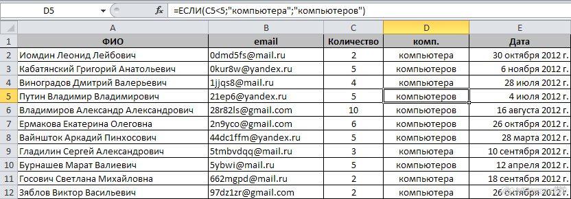 исходная таблица Excel с адресами почты для рассылки писем